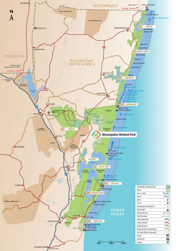 iSimangaliso Wetlands Park kaart
