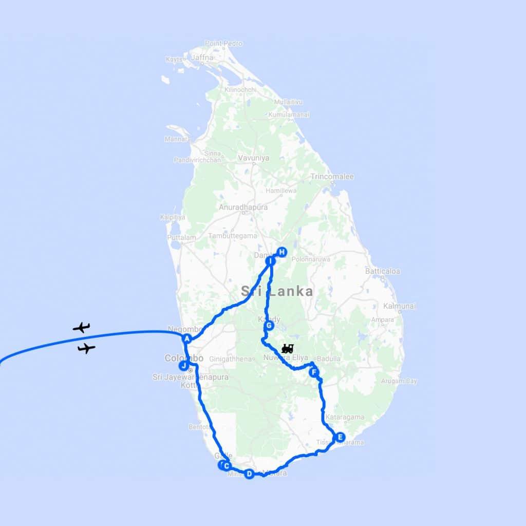 Reisroute Sri Lanka Malediven